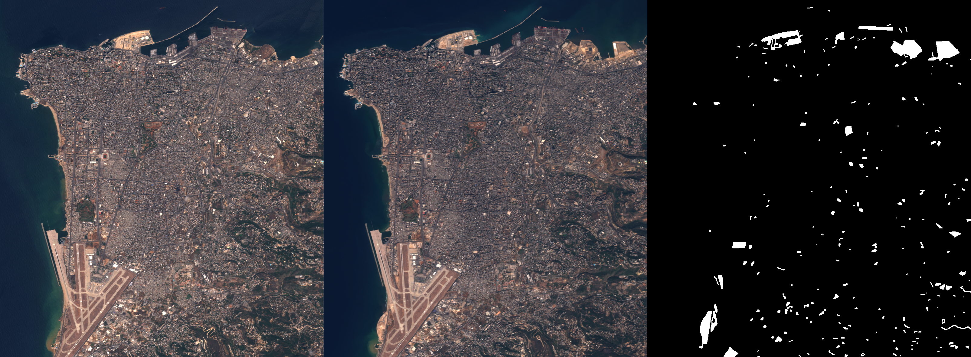 "Example: ""beirut"" image pair and associated change map."